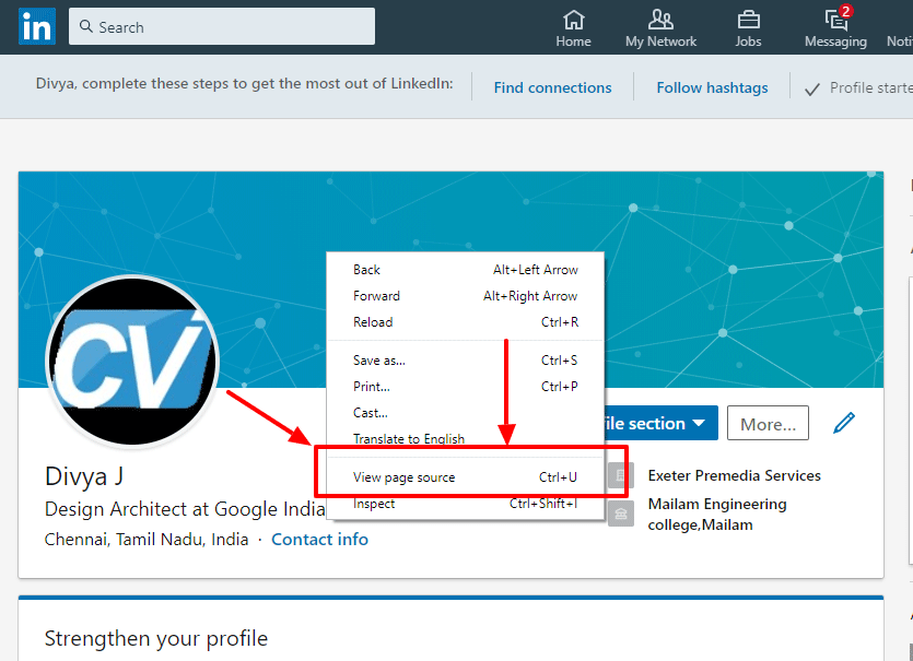 Save Linkedin Profile sPage as HTML