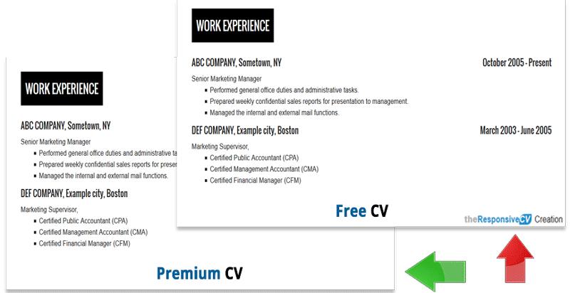No Branding link for premium CV