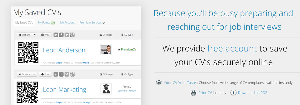 Save your CV's instantly by creating a free account with theresponsivecv.com
