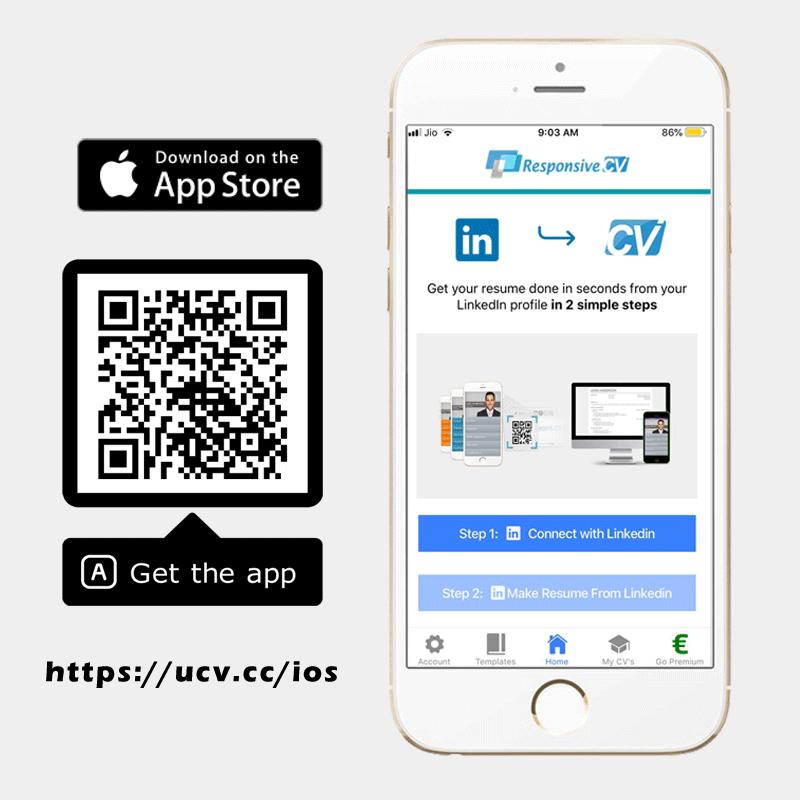 Install Responsive CV IOS app