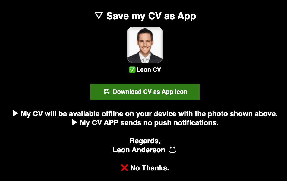 Auto prompt recipient to save CV as App