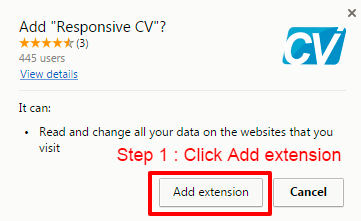 click add extension when promted
