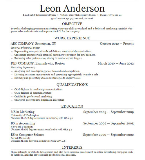 Create A Similar Resume Now  Cornell Resume Builder