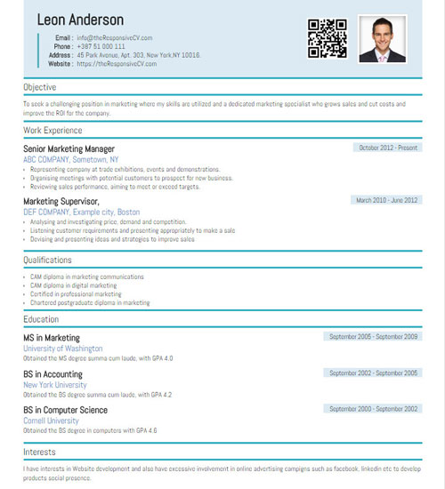 online cv builder with free mobile resume and qr code