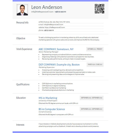 Attractive Resume Templates Pdf Online Cv Builder With Free Mobile Resume And Qr Code  Resume Maker College Application Resume Format Excel with Experienced Rn Resume Create A Similar Resume Now Combination Resume Sample Pdf