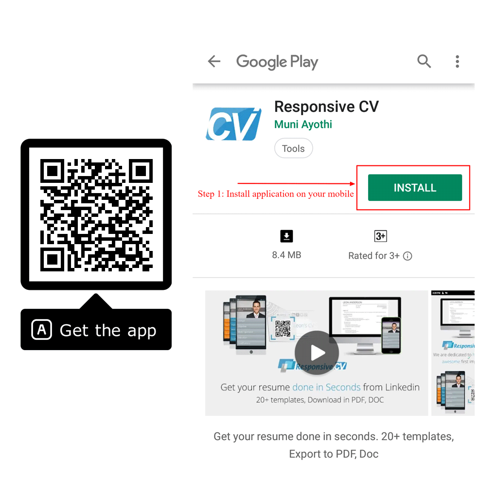 Install Responsive CV android app