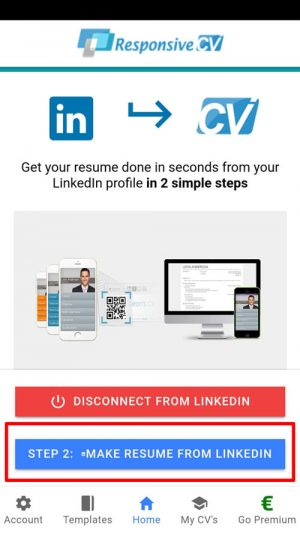 Press Make resume from LinkedIn button to download PDF