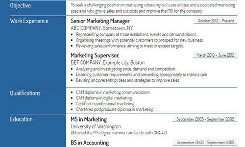 Standard resume format advantages