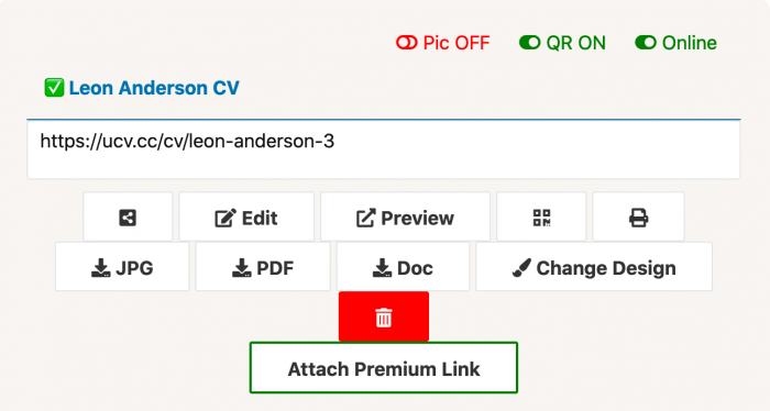 Request premium link responsive cv