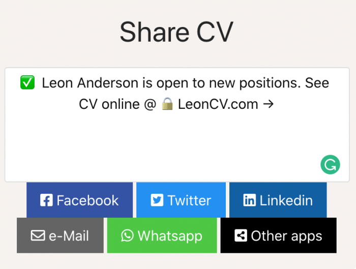 Share responsive cv on social mediums
