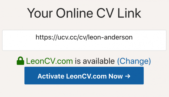 Attach a domain name to your CV