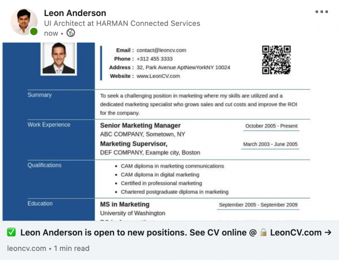 Responsive CV on linkedin