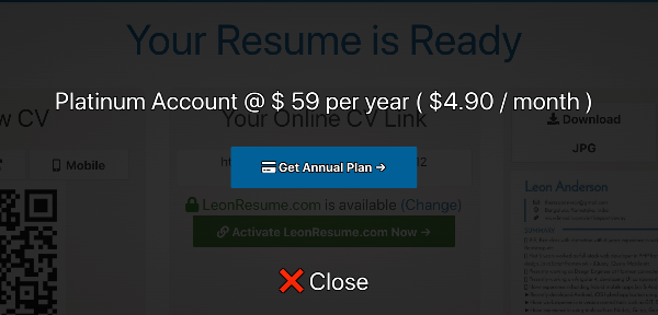 Activate platinum plan with resume website.