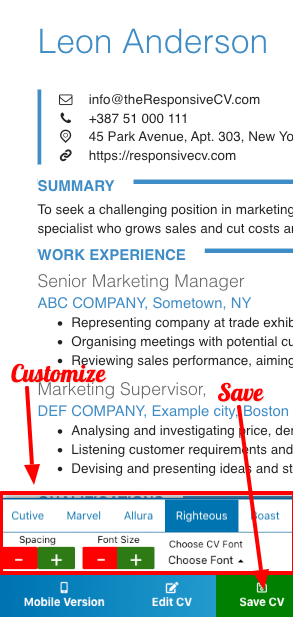 Customize design with resume builder app