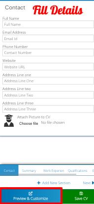 Fill details with resume builder app
