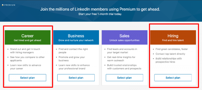 LinkedIn Premium Plans - Career, Business, Sales, Hiring