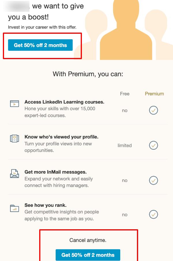 Linkedin premium promotion.