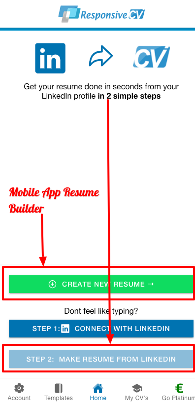 ResponsiveCV Resume Builder App start page